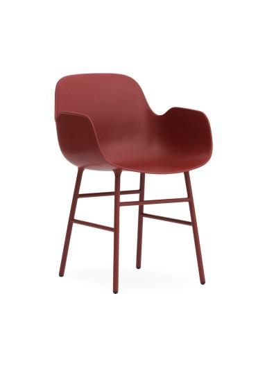Silla Form Roja Patas Acero Normann Copenhagen