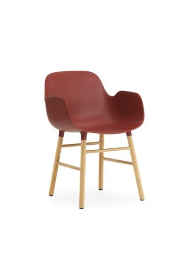 Silla Form Roja Patas Roble Normann Copenhagen