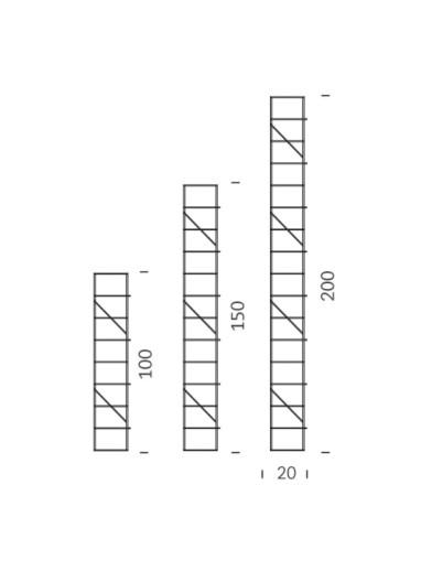 Soporte lateral pared gris 100cm Tria 24 Mobles114