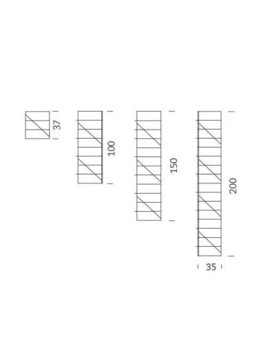 Soporte lateral pared cromado 200cm Tria 24 Mobles114