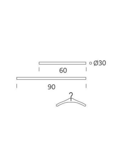 Barra colgador cromado 60 cm Tria36 Mobles114
