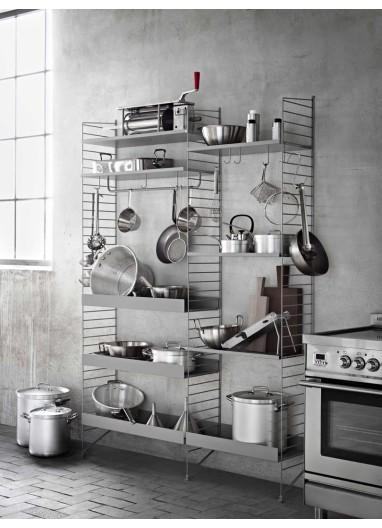 Metal Shelf High Edge Grey 58x30 String