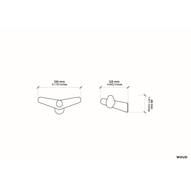 Tail wing hook black small Woud