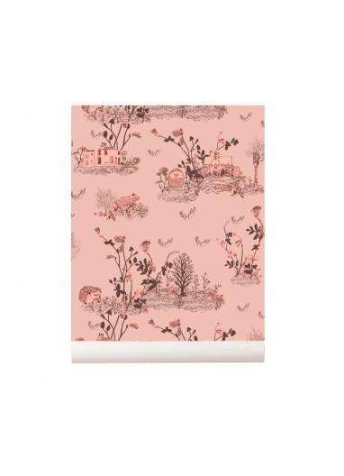 Woodlands wallpaper Brown Pink Sian Zeng