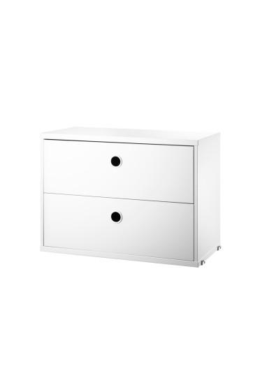Chest 2 drawers white 58x30cm flexible String System shelf