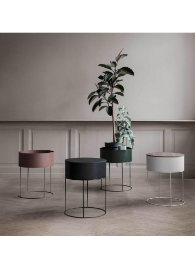 Plant Box Round Verde oscuro Ferm Living