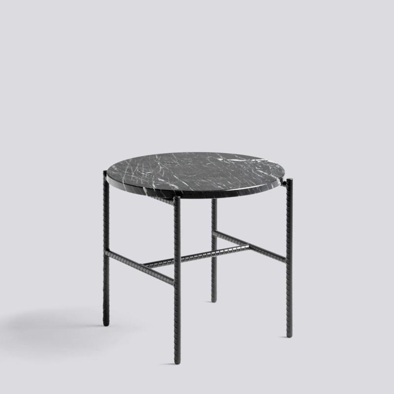 Rebar Round Side Table Marble Black Hay