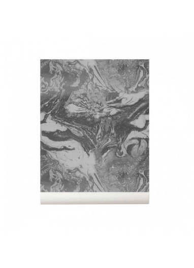 Marbling Wallpaper Charcoal Ferm Living