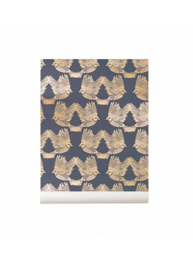 Birds Wallpaper Deep Blue / Gold Ferm Living