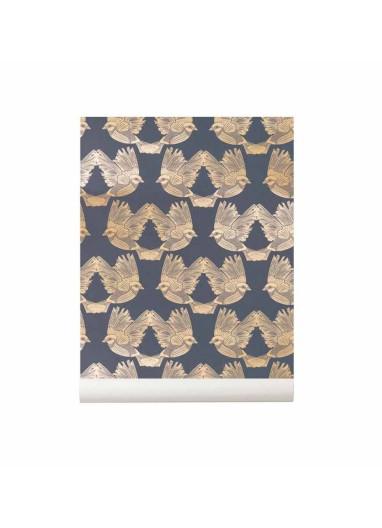 Papel Pintado Birds Azul oscuro / Dorado Ferm Living