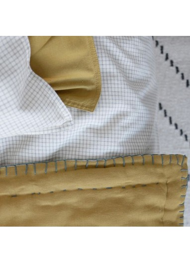 Mini Check Coral Duvet Cover Camomile London