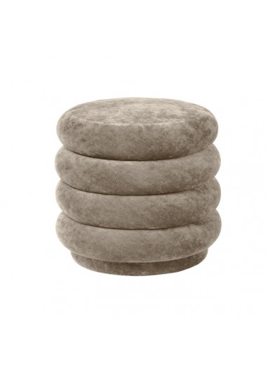 Pouf round faded velvet small beige Ferm Living