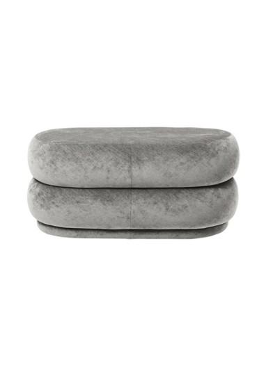 Pouf oval velvet concrete Ferm Living