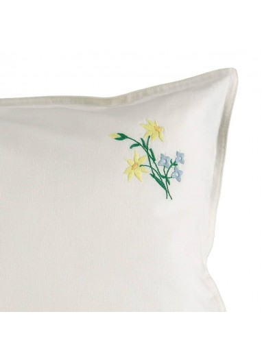 Embroidered Yellow Flower Pillowcase Camomile London