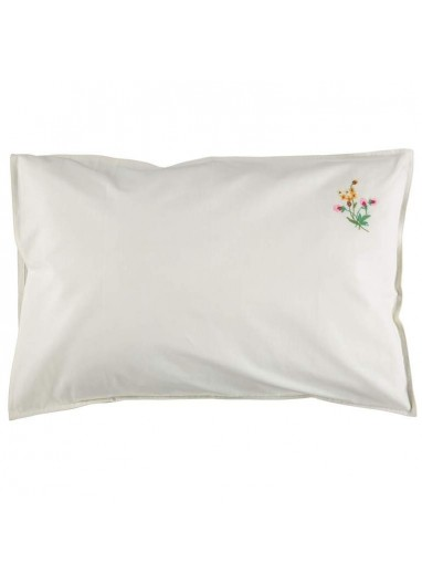 Embroidered Pink Flower Pillowcase Camomile London