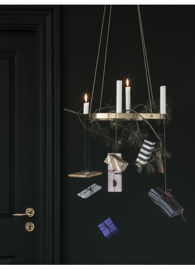 Candle Holder Circle - Black Brass-Large Ferm Living